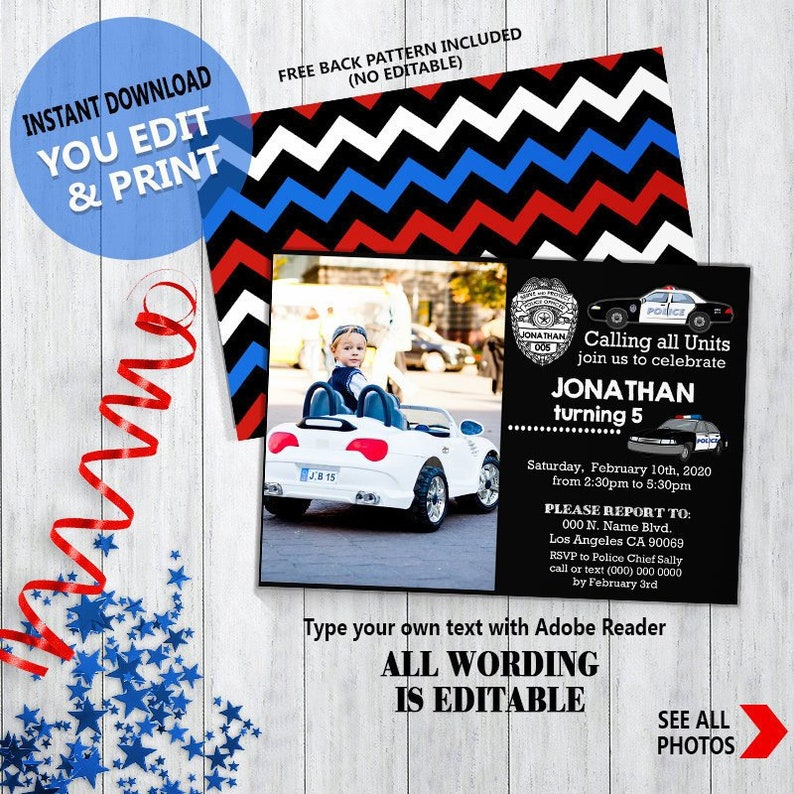 Police birthday invitation police cars officer policeman party chalkboard  Instant Download You ADD Photo, EDIT Text and PRINT invite 6053