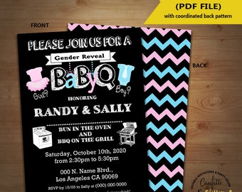 BabyQ gender reveal Baby Shower Party Invitation barbecue Coed shower Baby Q BBQ self editable printable invite instant download 5378