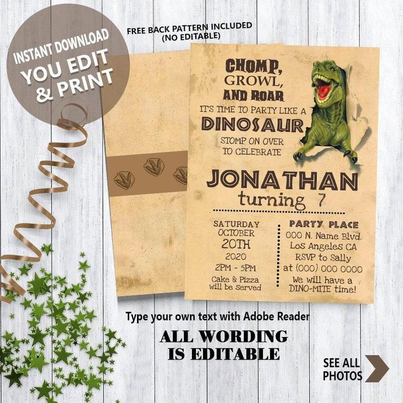 T Rex Dinosaur Birthday Invitation Prehistoric Dino Trex Party Invite Instant Download YOU EDIT TEXT And Print 6081