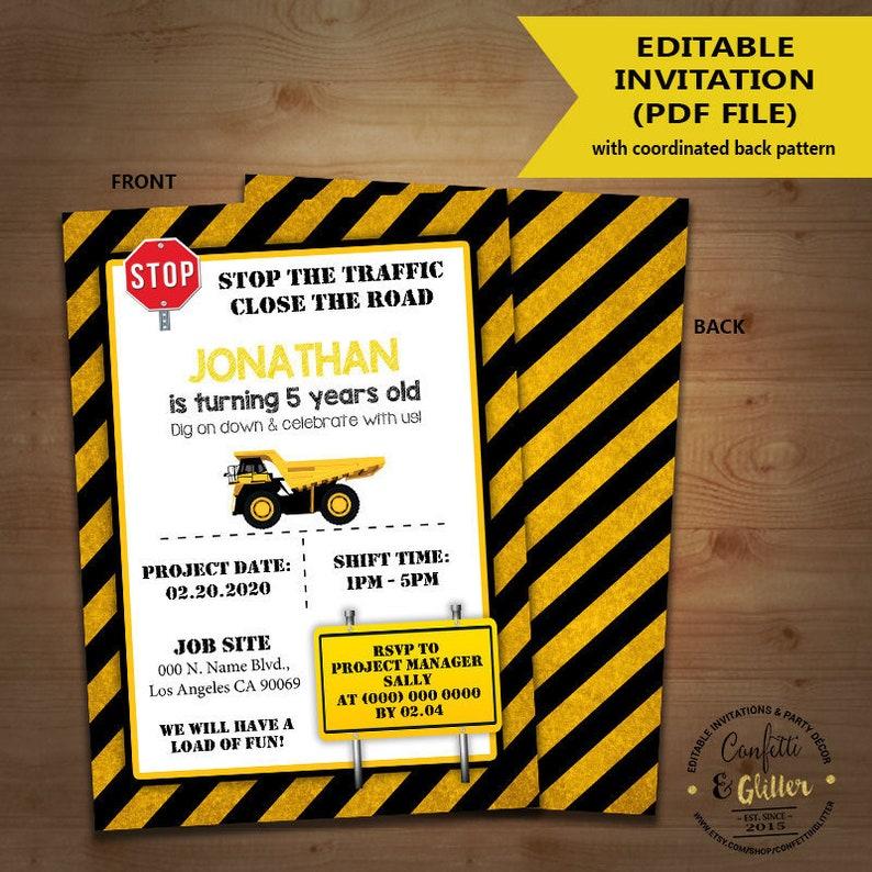 Construction Birthday Invitation stop the road under | Etsy