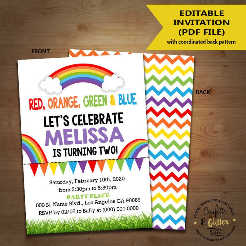 Rainbow Birthday Party Invitation Summer Invite