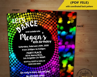 Dance birthday party invitation disco dance party invite instant download YOU EDIT TEXT and print yourself invite 5601