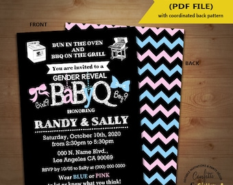 BabyQ gender reveal Baby Shower Party Invitation barbecue Coed shower Baby Q BBQ Instant Download YOU EDIT Text and Print invite 5380