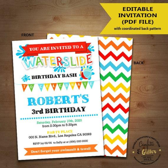 Waterslide Birthday Bash Invitation Backyard Primary Pool Etsy
