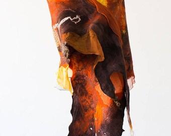 Boho shawl Art scarves Nuno Felt scarf Wool scarf Nuno felt wrap Felted silk scarf Unique Nunofelting scarf shawl Handmade scarves Boho chic