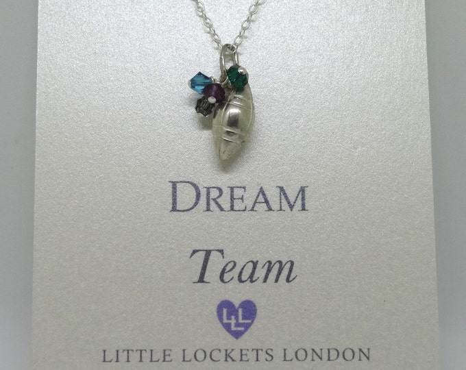 Dream Team - Rugby charm - Wear your team colours with pride - silver rugby ball & Swarovski crystal pendant - gift rugby fan, Six Nations