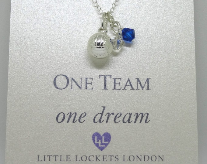 One Team Football charm - Swarovski crystal in team colours - sterling silver football or rugby charm