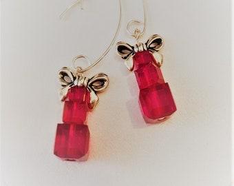 Christmas Present Earrings, Genuine Swarovksi Crystal, Holiday Earrings