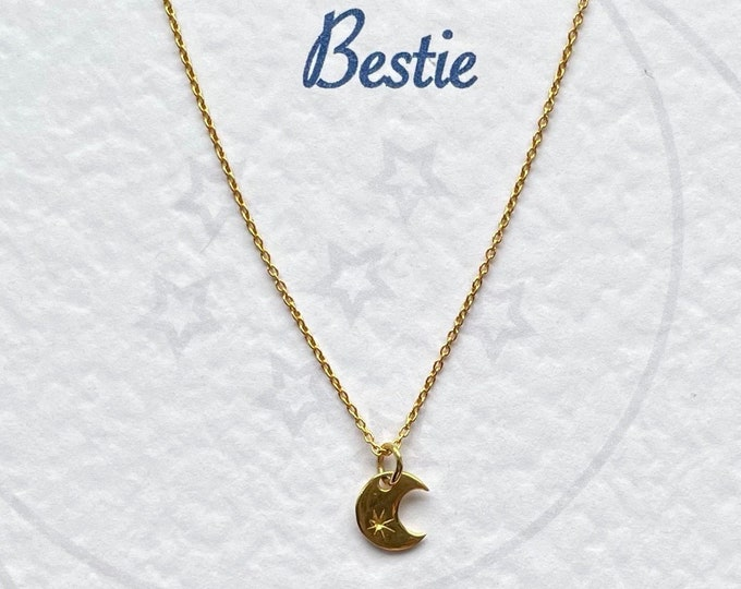 Love You to the Moon Gold Vermeil Necklace - Birthday, best friend, mum, sister, daughter, bestie