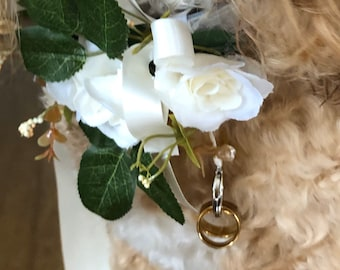 Silk Flower Dog Ring Bearer Collar with choice of Ribbon colour