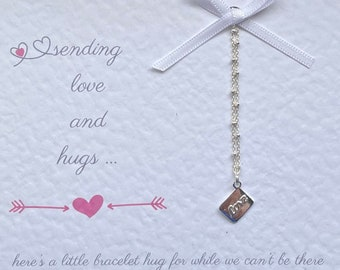 Love and Hugs Miss You Bracelet. Miss You Gift on Personalised Gift Card. Sister, Daughter, Friend, Gift for her, birthday