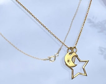 Moon and Stars Pendant, gold vermeil