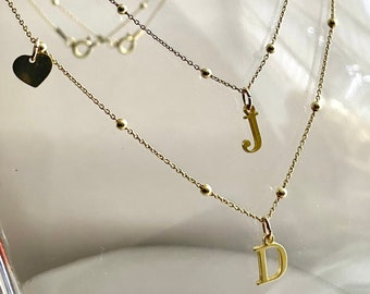 Personalised Monogram Pendant with initial and Satellite Chain. Single or Double strand