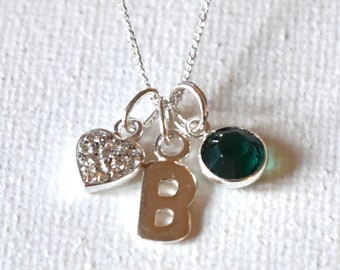 Sterling silver birthstone and initial pendant - personalised