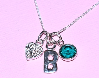 Silver Initial and Birthstone Necklace, sterling silver, Swarovski crystal birthstone charm, PERSONALISE Happy Birthday Gift, initial charm