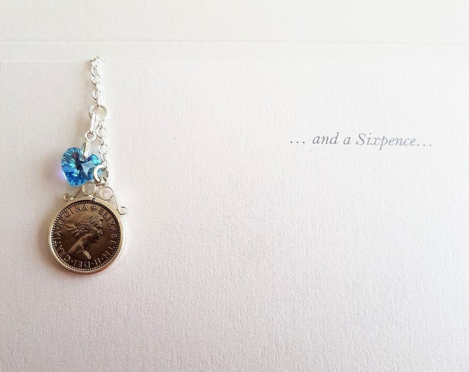 lucky sixpence, something blue, bouquet charm, gift for bride