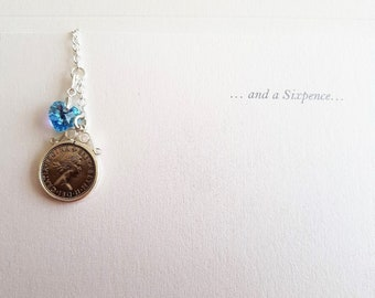 Lucky British Sixpence and Something Blue Wedding Bouquet Charm
