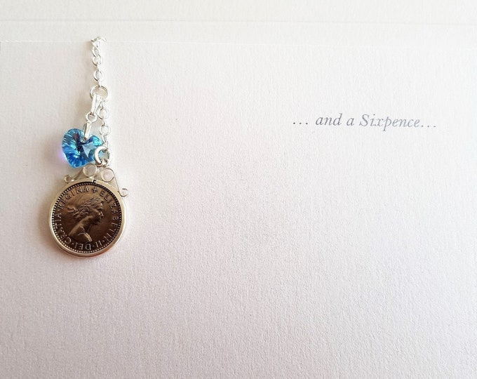 Lucky Sixpence plus Something Blue Bouquet Charm