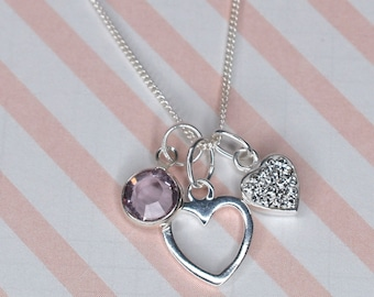 Sterling silver two hearts pendant with Swarovski pearl or birthstone