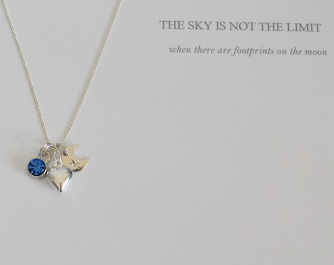 Moon and Birthstone Necklace Pendant