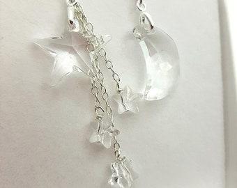 Moon and Stars Earrings, Swarovski Crystal