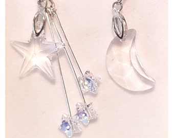Moon and Star Earrings, Mismatched Earrings
