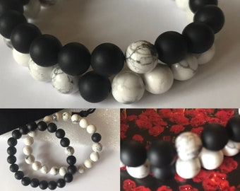 Couples Bracelets, Howlite and Agate Beads