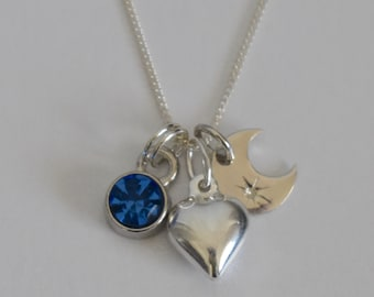 Moon & Heart Pendant with Birthstone