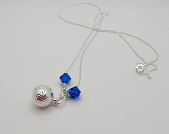 Sterling Silver Football Pendant with Team Colours