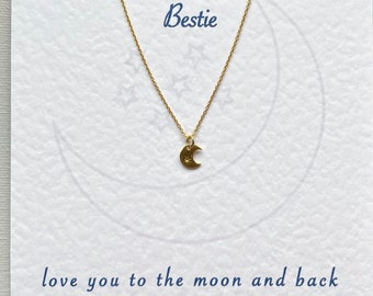 Love You to the Moon Gold Vermeil Necklace - Miss you gift, Birthday, best friend, mum, sister, daughter