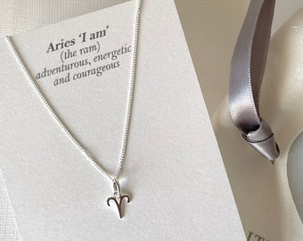 Zodiac Birth Sign Pendant, Sterling Silver