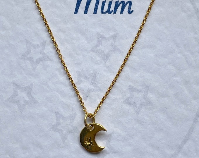 Love You to the Moon Gold Vermeil Necklace - Bridesmaid Gift, Wedding Party Jewellery, Mum