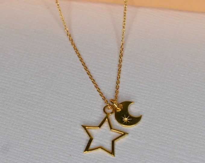 Gold Vermeil Moon and Stars Pendant with personalised card and presentation wallet
