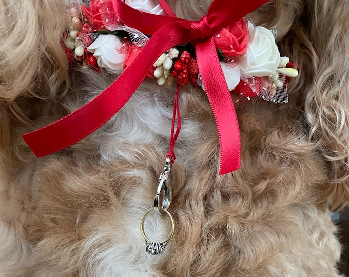 Featured listing image: Red and White Ring Bearer Collar