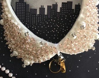 Ivory Pearl Studded Dog Collar - Ring Bearer, wedding dog collar, pet collars, pet wedding accessory, pearls and crystals, proposal idea