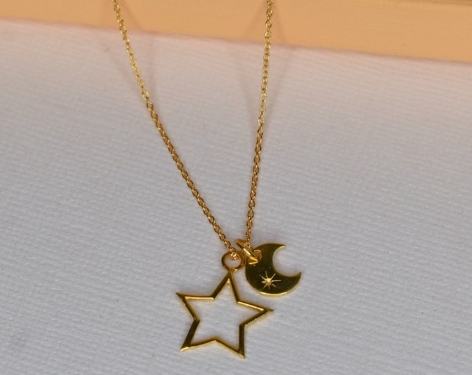 Moon and Stars Gold Vermeil Necklace Pendant