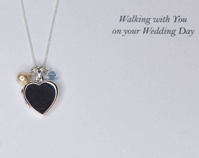 NEW for Bride Wedding Photo Memorial Heart Locket Sterling Silver 925 - Swarovski crystal and pearl memory opening locket, something blue