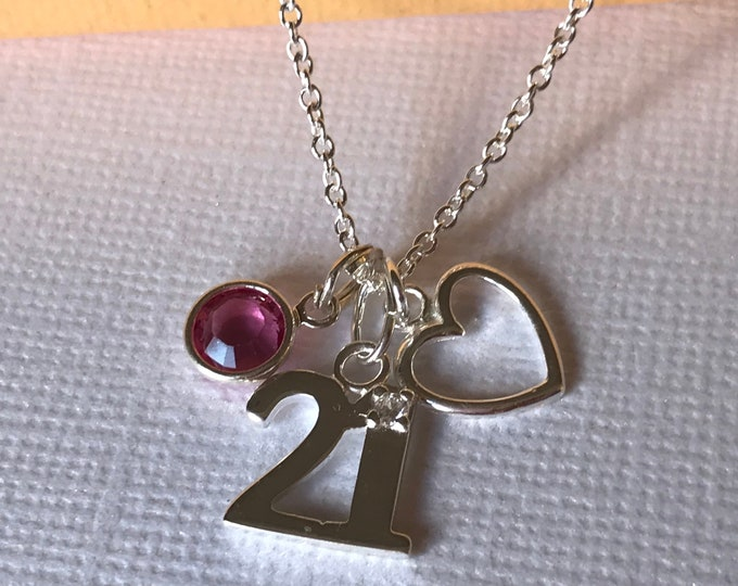 Silver 21st Birthday Necklace - personalised