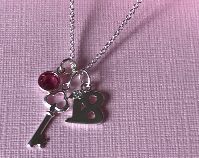 Silver 18th Birthday Necklace with key, sterling silver, Swarovski crystal birthstone charm, PERSONALISE Happy Birthday Gift, Coming of Age