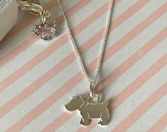 Sterling Silver Scottie Dog Pet Necklace, Personalised Pet Lovers Pendant, Remembrance Gift, Pet Loss