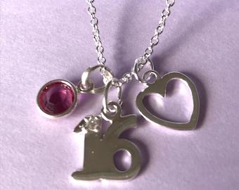 Personalised Birthday Pendant, 16th, 18th, 21st pendant, birthstone