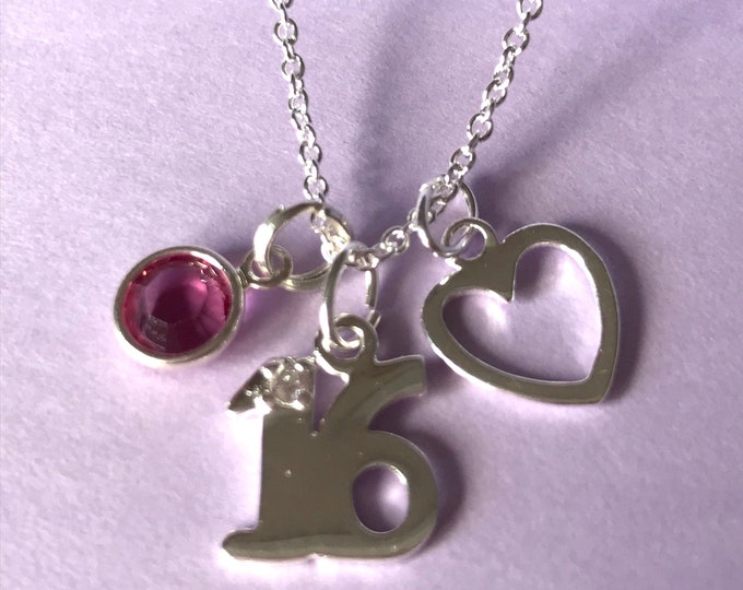 Silver 16th Birthday Necklace with sterling silver heart, Swarovski crystal birthstone charm, PERSONALISE Happy Birthday Gift, Sweet Sixteen