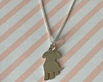 Sterling Silver Dog Pet Necklace, Personalised Pet Lovers Pendant, Remembrance Gift, Pet Loss