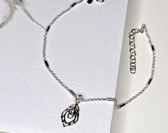 Sterling Silver Peacock Feather charm Anklet (or Pendant), designed with inspiration in mind - love, friendship, yoga enthusiast, awakening