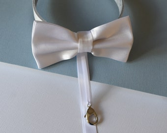 Dog Bow Tie Ring Bearer Collar in white satin with white leather collar