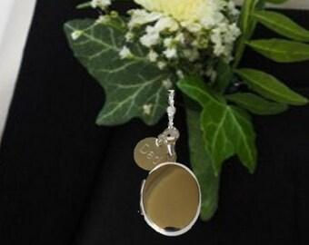 Groom's Sterling Silver Oval Locket - Memorial locket for buttonhole, lapel or inside pocket