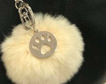 Pom Pom Bag Charm - Rabbit Fur Ball - Paw Print Charm - Handbag Keychain - Soft Fur Fob Lovely Key Chain with Paw Print charm -dog lover