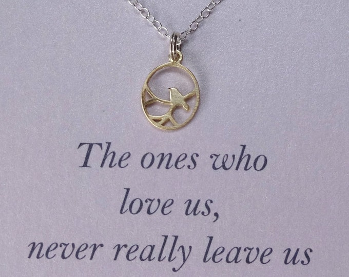 """Gold vermeil or silver birdcage sterling silver charm pendant, """"the ones who love us never really leave us"""" sentiment, memorial message card"""
