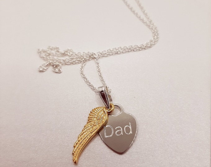 Sterling silver angel wing memorial pendant, personalised