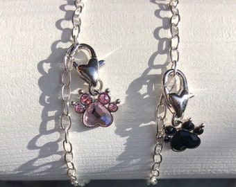 Pet lovers gift, crystal paw charm bracelet, sterling silver, Swarovski, gift wrapped Cutie Cute Dog and Cat Lovers Paw Bracelet